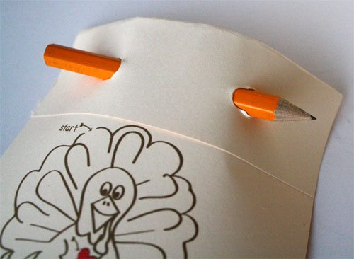 Thanksgiving turkey trivia card with pencil