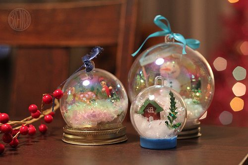 winter waterless snowglobes on table