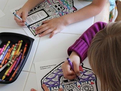 Kids coloring gingerbread house printables