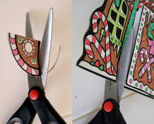 scissors cutting Gingerbread coloring sheet