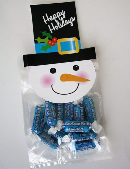 Snowman Treat Bag Toppers with treats