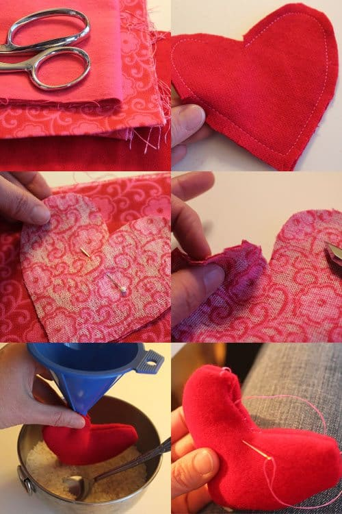 tutorial for making felt heart shaped hand warmers