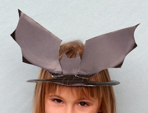 Holiday Hats for Every Occasion Made from Paper Plates (bat hat)