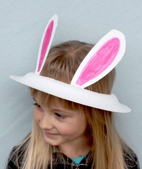 Holiday Hats for Every Occasion Made from Paper Plates (Bunny hat for Easter)
