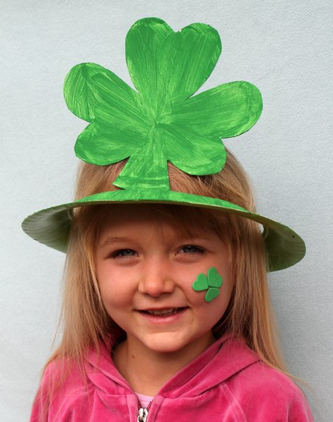 Paper Plate Shamrock Hat for St. Patrick's Day