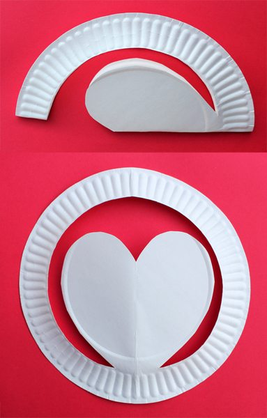 Paper Plate Heart Hat for Valentine's Day