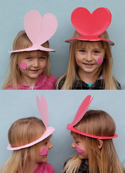 Colored Paper Plate Heart Hats for Valentine's Day