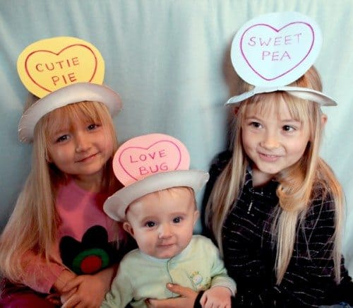 "Paper plate ""sweetheart candy"" hats for Valentine's Day"
