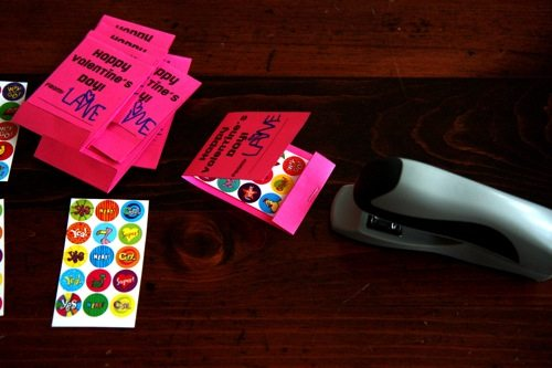 stapling stickers inside matchbox valentine