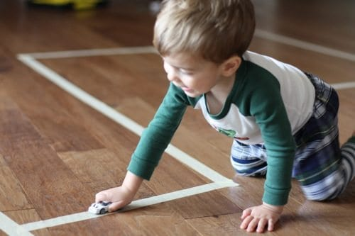 make roads for matchbox cars with masking tape
