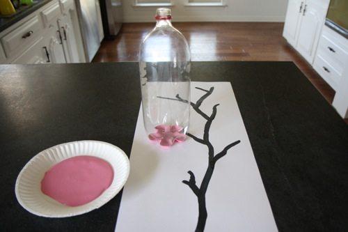 Cherry Blossom Art Made with Soda Bottle   alphamom.com