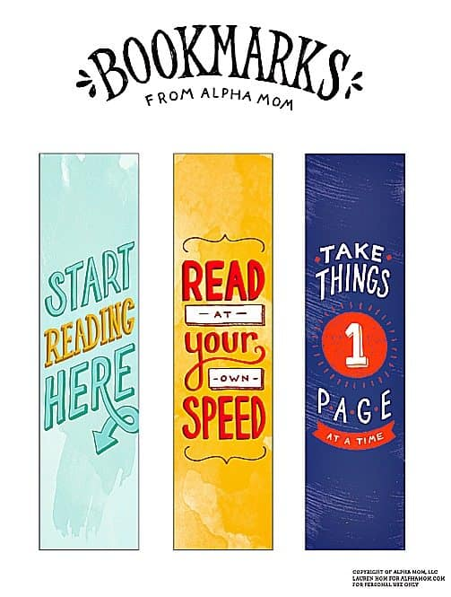 free bookmarks printables from alpha mom