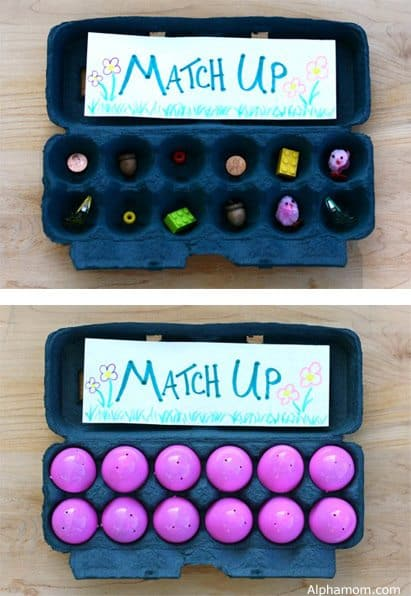 Match up game with with plastic Easter eggs