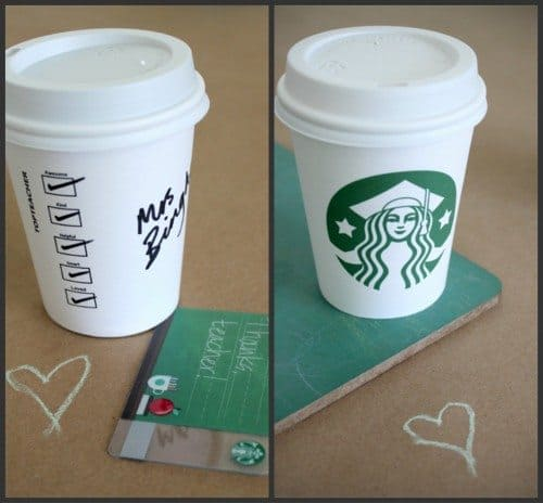 Starbucks teacher gift card coffee cup thank you printable