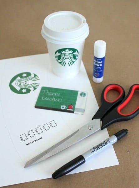 Starbucks teacher gift card thank you coffee cup printable