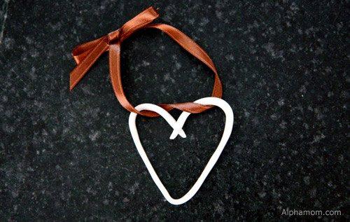 Clay heart with ribbon