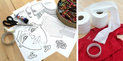 supplies for making mummy costume (mummy printable, scissors, glue stick, t-shirt, toilet paper)