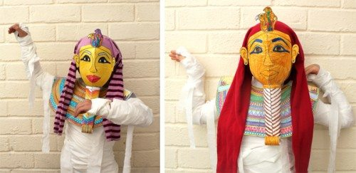 two photos of kids wearing DIY Mummy mask costumes