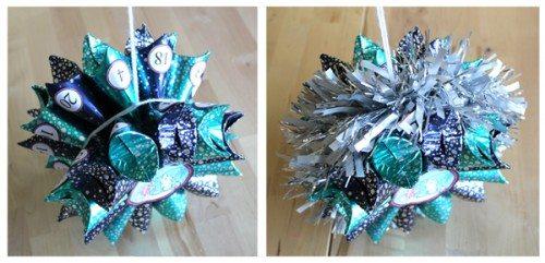 Adding ribbon to Star of Treats Advent Calendar Craft