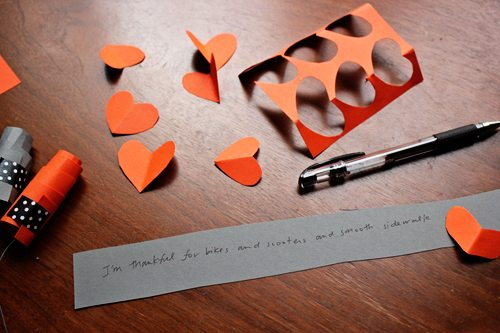 Heart cut outs to use as leaves for centerpiece craft