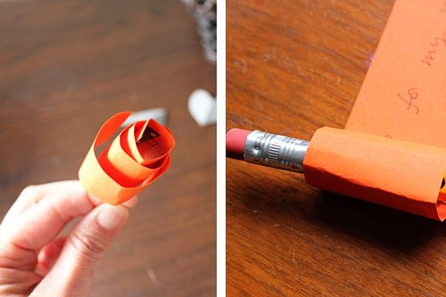 Rolling paper using pencil for centerpiece craft