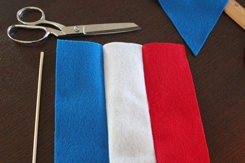 sewing together felt strips