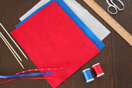 Supplies for patriotic parade pennants