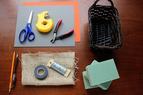 Supplies for gratitude centerpiece Thanksgiving craft