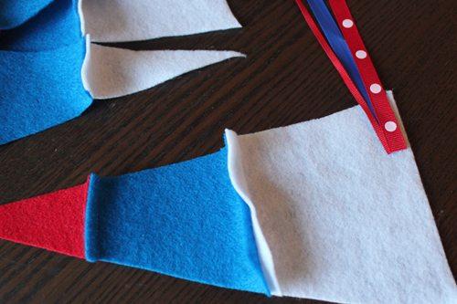 adding ribbon to felt pennants