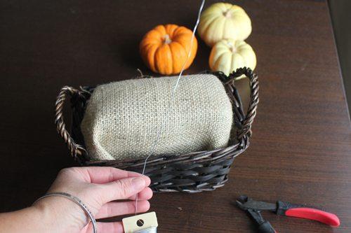 Burlap covered foam in basket for Gratitude centerpiece craft