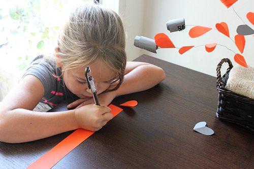 Writing secret messages for Gratitude Centerpiece craft