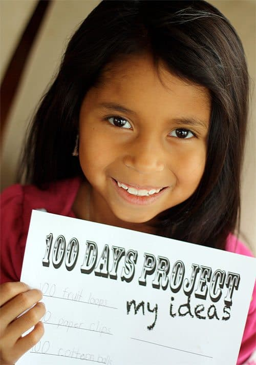 100 Days project printable