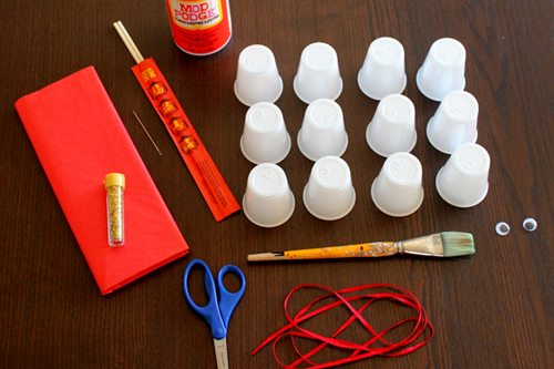 Supplies needed for Year of the Snake puppet craft