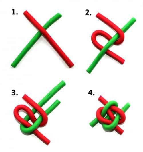 instructions for how to tie knot in candy rope