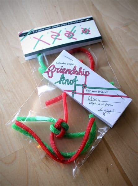 valentine craft candy friendship knot