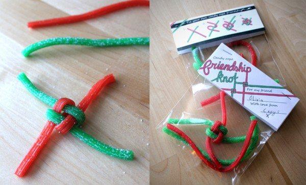 valentine craft candy friendship knot