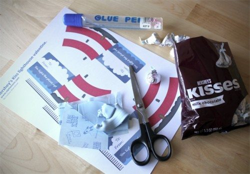 supplies to make class valentine hershey's kiss candy card