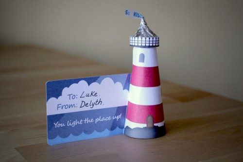 Hershey's Kiss Lighthouse Valentine Card sitting on top of a table