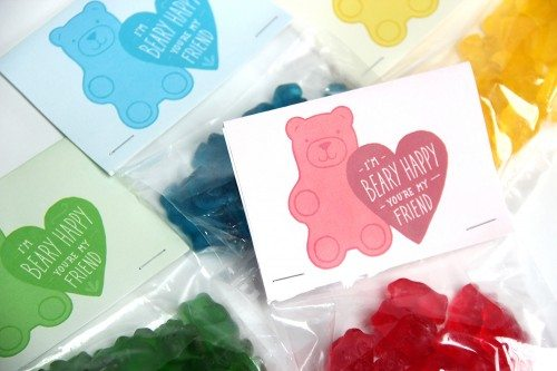 valentines for kids gummy bear bag topper