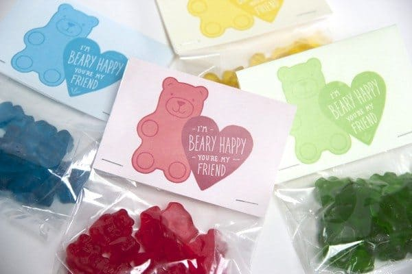 variety-colored valentines for kids gummy bear bag toppers