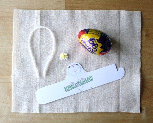 supplies to make cadbury creme egg bunny wrapper