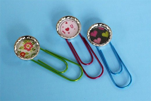 Bottle Cap Bookmarks Craft for Mother's Day