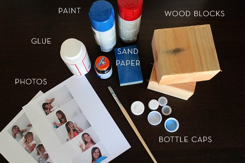 Father's Day Car Photo Cube Supplies (photos, glue, paint, wood blocks, bottle caps, sand paper)
