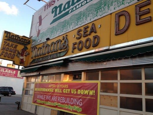 nathans in coney island after hurricane sandy