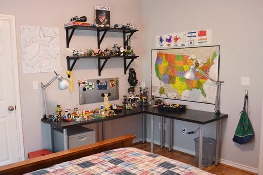 Kenny's entire room is organized Geography and LEGOs.