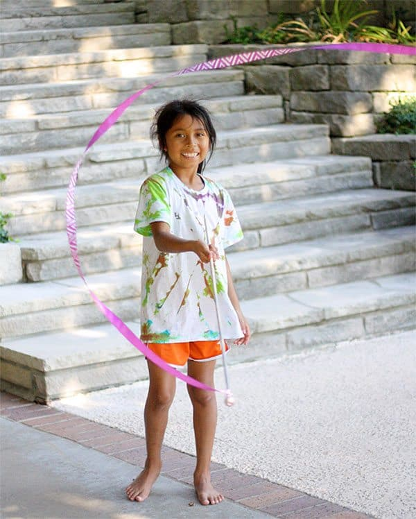 Outdoor play with Ribbon wand craft