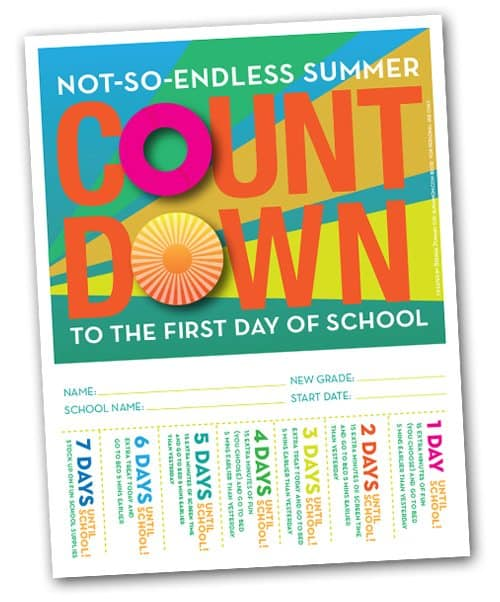 Back-to-School Countdown Poster. Kids RipTabs to earn rewards and remember to go to sleep earlier.