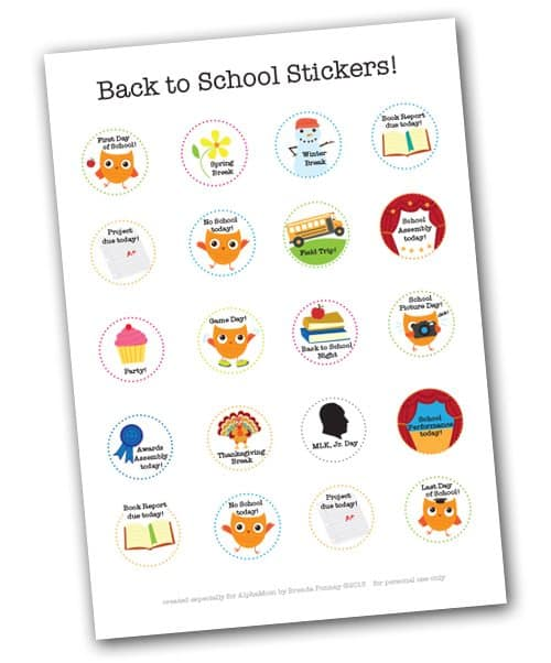 Children S Calendar With Stickers : School events calendar stickers printable for back to