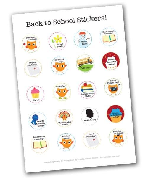 School Events Calendar Stickers by alphamom.com