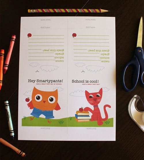 Printables for First day of school breakfast table